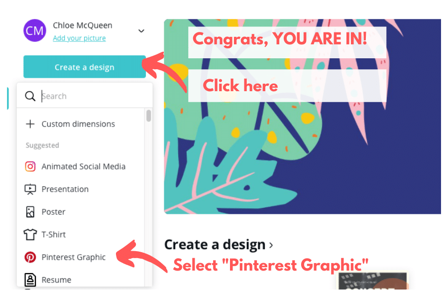 How to use Canva for Free - Create a design