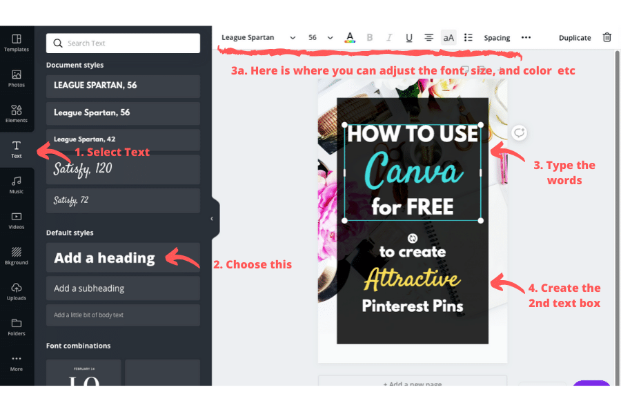 How to use Canva for Free - add text