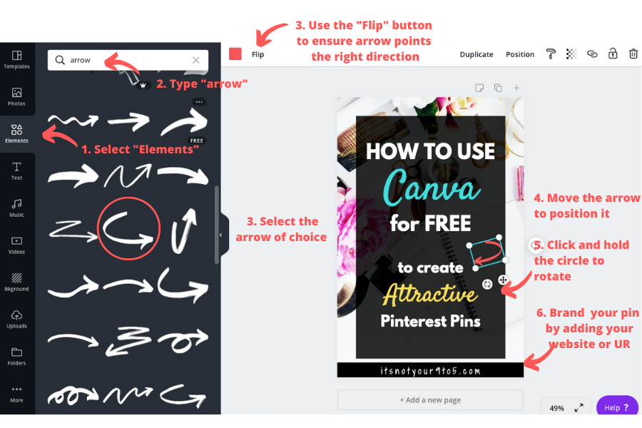How to use Canva for Free - add symbol