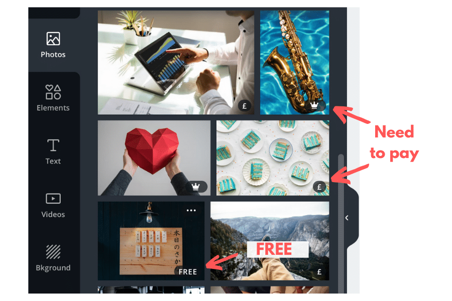 Canva free vs. paid images