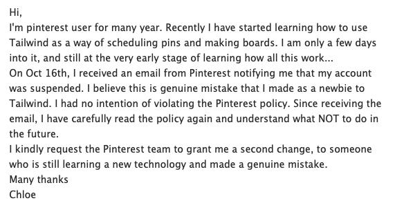 Pinterest account suspension appeal description