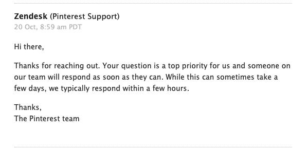 Pinterest account suspension- Auto confirmation