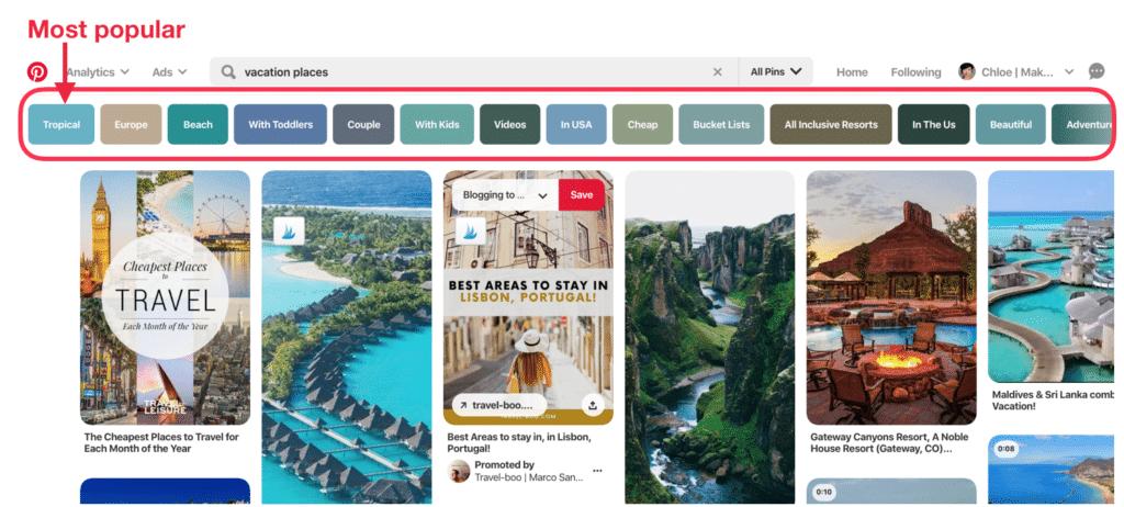 Screen shot 1 - use Pinterest keyword tool